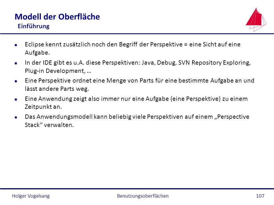 Holger Vogelsang Modell der Oberfläche Einführung n Eclipse kennt zusätzlich noch den Begriff der Perspektive = eine Sicht auf eine Aufgabe. n In der