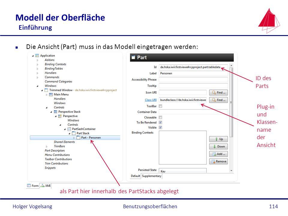 Holger Vogelsang Modell der Oberfläche Einführung n Die Ansicht (Part) muss in das Modell eingetragen werden: Benutzungsoberflächen114 ID des Parts Pl