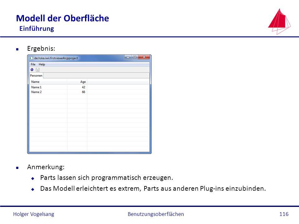 Holger Vogelsang Modell der Oberfläche Einführung n Ergebnis: n Anmerkung: u Parts lassen sich programmatisch erzeugen. u Das Modell erleichtert es ex