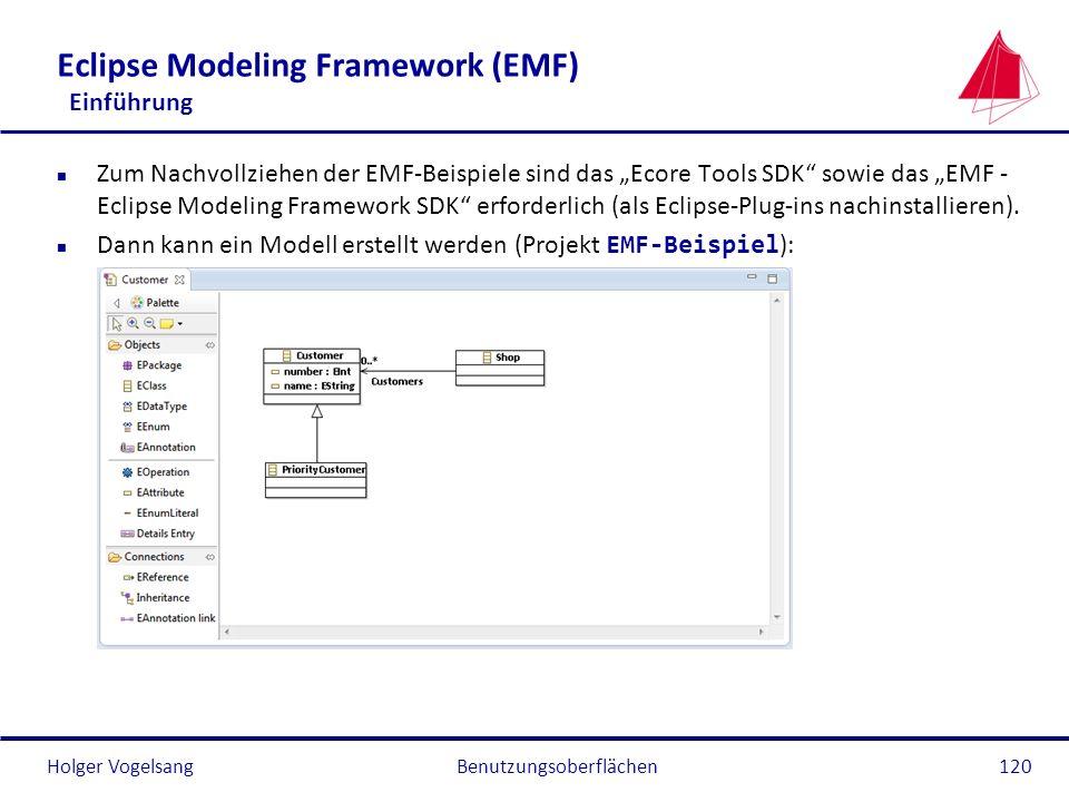 Holger Vogelsang Eclipse Modeling Framework (EMF) Einführung n Zum Nachvollziehen der EMF-Beispiele sind das Ecore Tools SDK sowie das EMF - Eclipse M