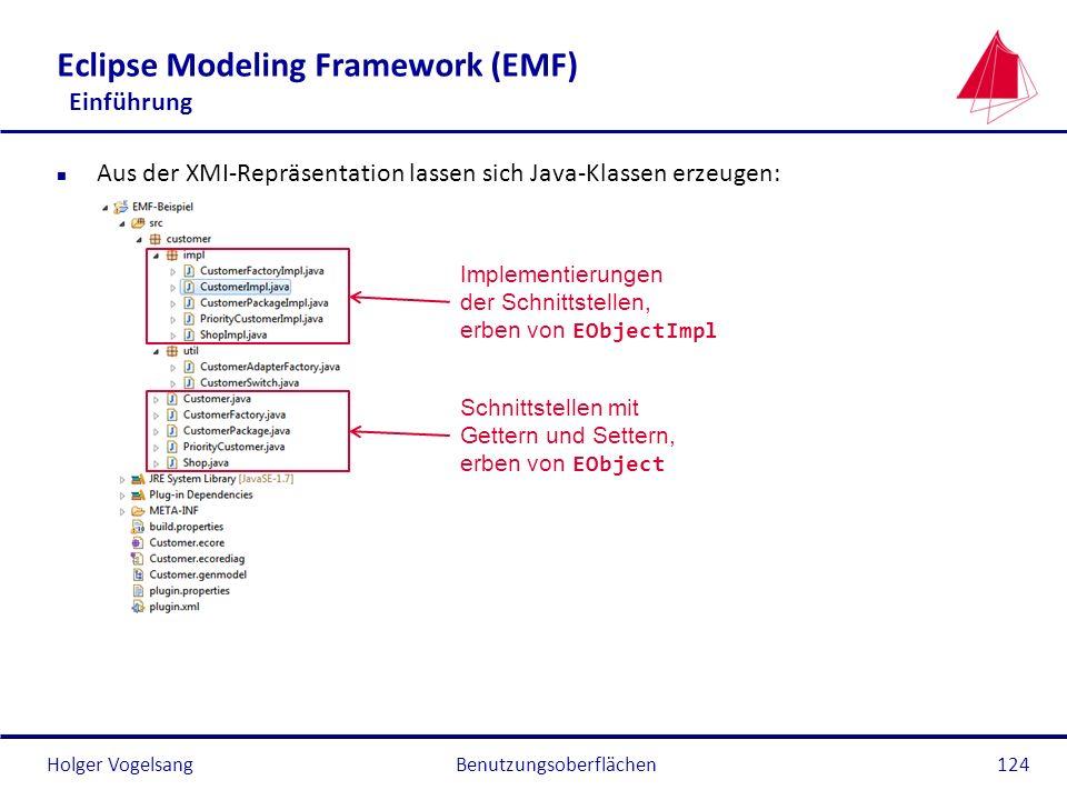 Holger Vogelsang Eclipse Modeling Framework (EMF) Einführung n Aus der XMI-Repräsentation lassen sich Java-Klassen erzeugen: Benutzungsoberflächen124