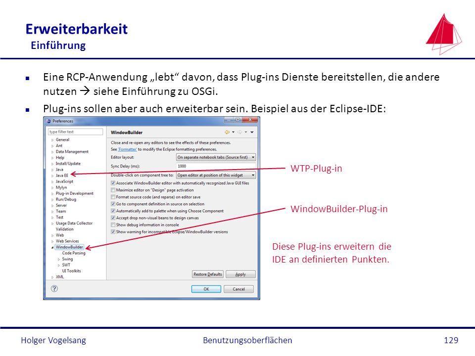 Holger Vogelsang Erweiterbarkeit Einführung n Eine RCP-Anwendung lebt davon, dass Plug-ins Dienste bereitstellen, die andere nutzen siehe Einführung z