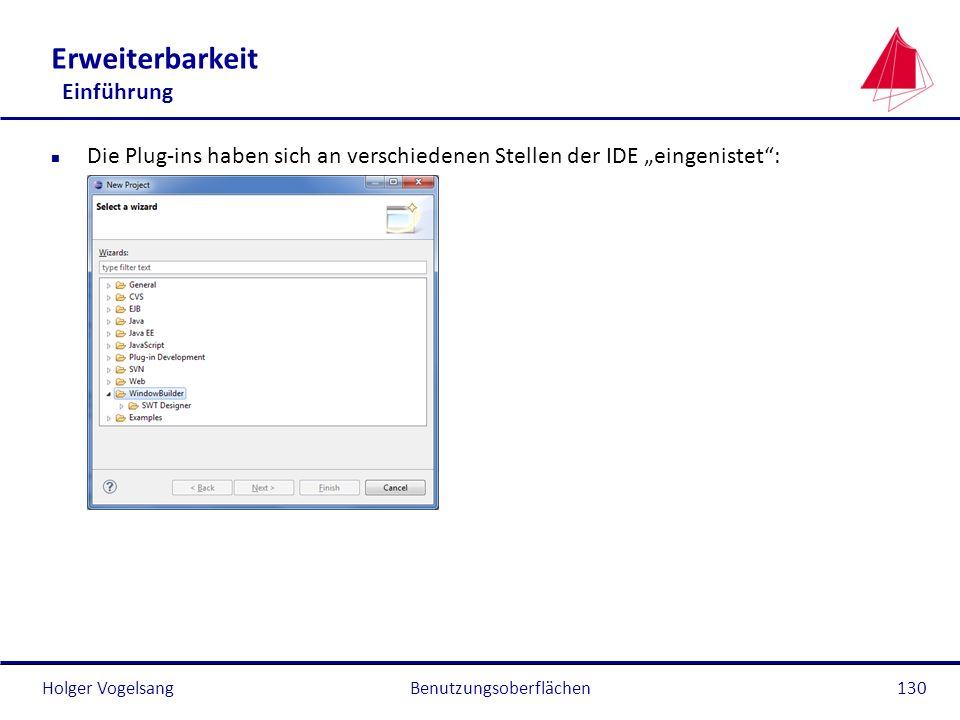 Holger Vogelsang Erweiterbarkeit Einführung n Die Plug-ins haben sich an verschiedenen Stellen der IDE eingenistet: Benutzungsoberflächen130