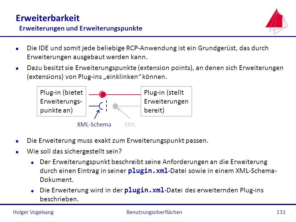 Holger Vogelsang Erweiterbarkeit Erweiterungen und Erweiterungspunkte n Die IDE und somit jede beliebige RCP-Anwendung ist ein Grundgerüst, das durch