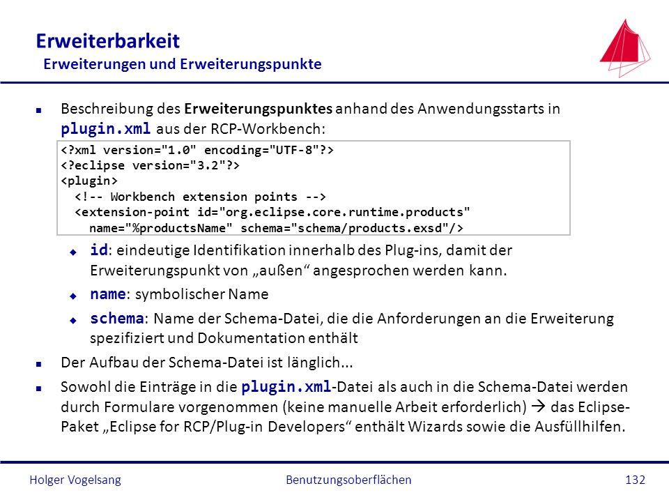 Holger Vogelsang Erweiterbarkeit Erweiterungen und Erweiterungspunkte Beschreibung des Erweiterungspunktes anhand des Anwendungsstarts in plugin.xml a