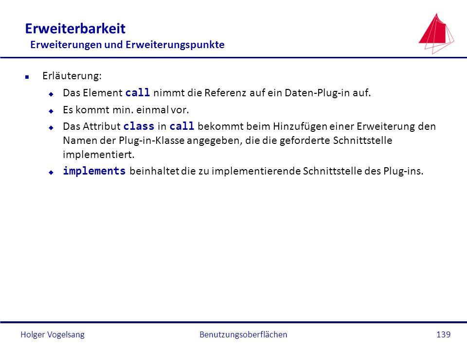 Holger Vogelsang Erweiterbarkeit Erweiterungen und Erweiterungspunkte n Erläuterung: Das Element call nimmt die Referenz auf ein Daten-Plug-in auf. u