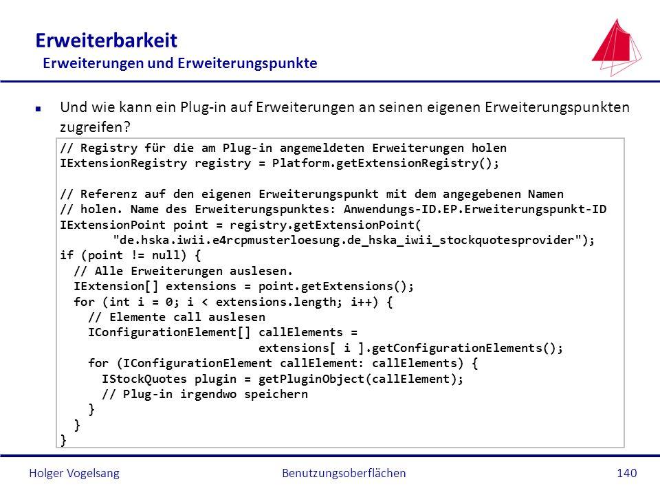 Holger Vogelsang Erweiterbarkeit Erweiterungen und Erweiterungspunkte n Und wie kann ein Plug-in auf Erweiterungen an seinen eigenen Erweiterungspunkt