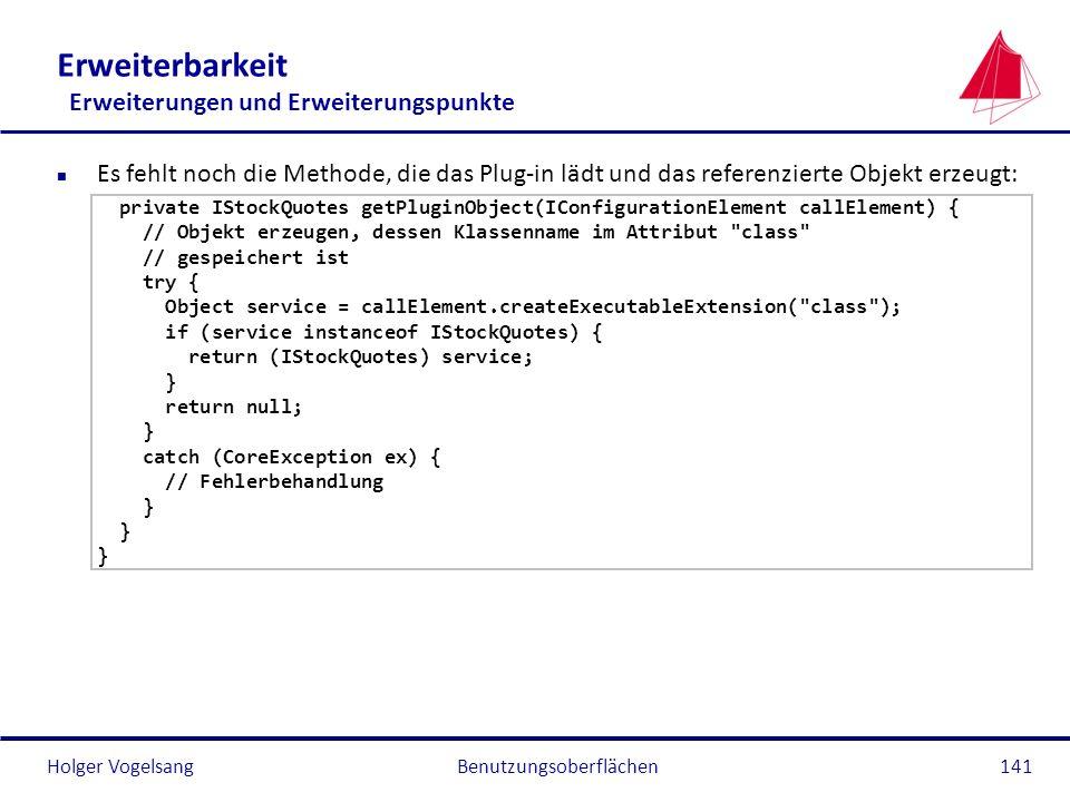 Holger Vogelsang Erweiterbarkeit Erweiterungen und Erweiterungspunkte n Es fehlt noch die Methode, die das Plug-in lädt und das referenzierte Objekt e