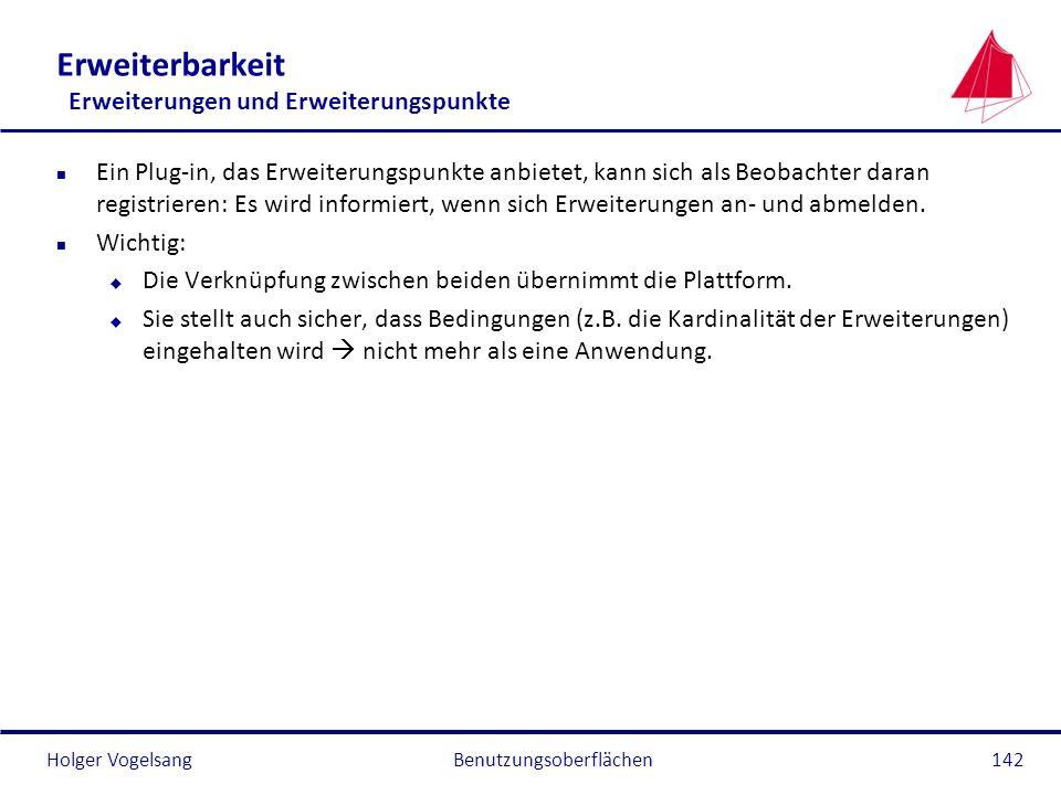 Holger Vogelsang Erweiterbarkeit Erweiterungen und Erweiterungspunkte n Ein Plug-in, das Erweiterungspunkte anbietet, kann sich als Beobachter daran r
