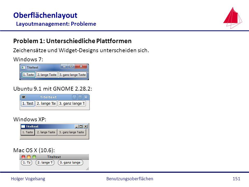 Holger VogelsangBenutzungsoberflächen151 Oberflächenlayout Layoutmanagement: Probleme Problem 1: Unterschiedliche Plattformen Zeichensätze und Widget-