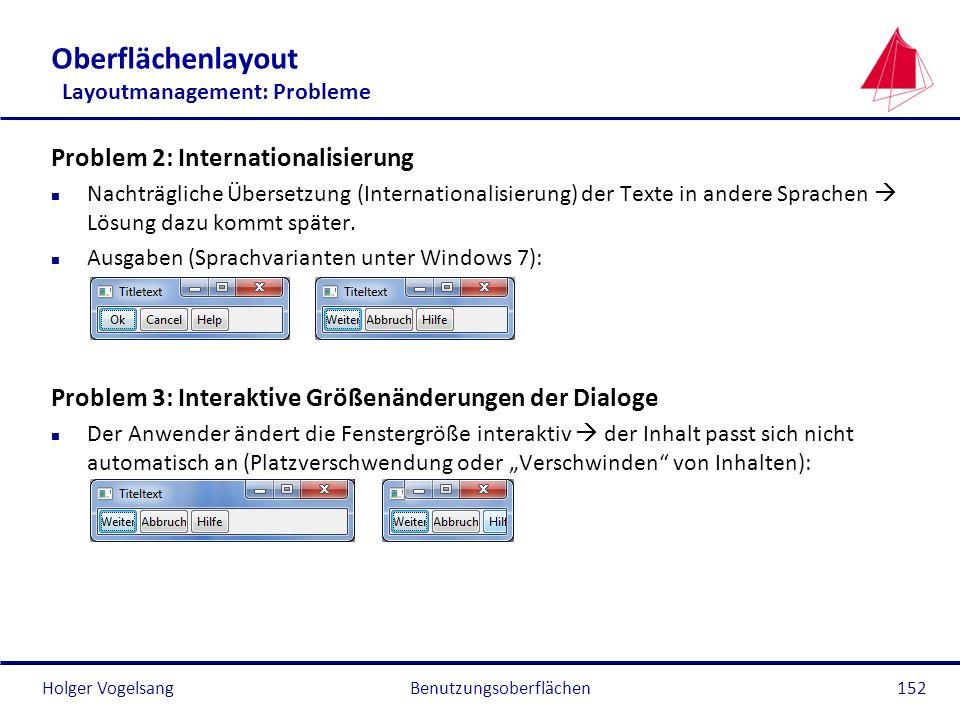 Holger VogelsangBenutzungsoberflächen152 Oberflächenlayout Layoutmanagement: Probleme Problem 2: Internationalisierung n Nachträgliche Übersetzung (In