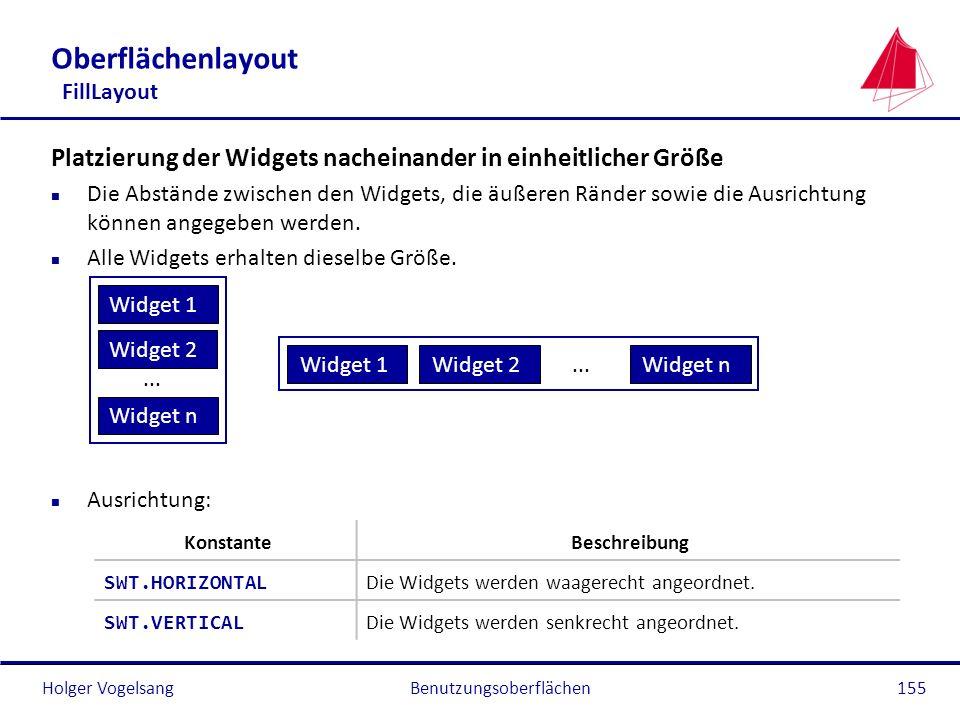 Holger VogelsangBenutzungsoberflächen155 Oberflächenlayout FillLayout Platzierung der Widgets nacheinander in einheitlicher Größe n Die Abstände zwisc