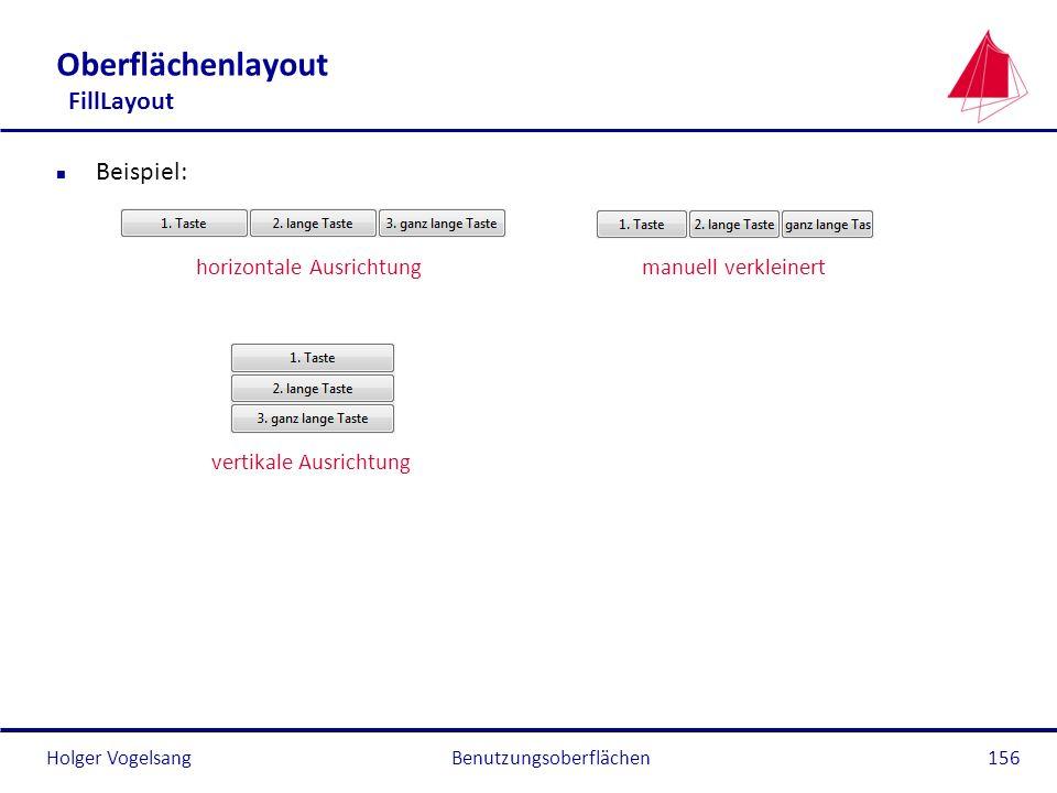 Holger VogelsangBenutzungsoberflächen156 Oberflächenlayout FillLayout n Beispiel: horizontale Ausrichtungmanuell verkleinert vertikale Ausrichtung