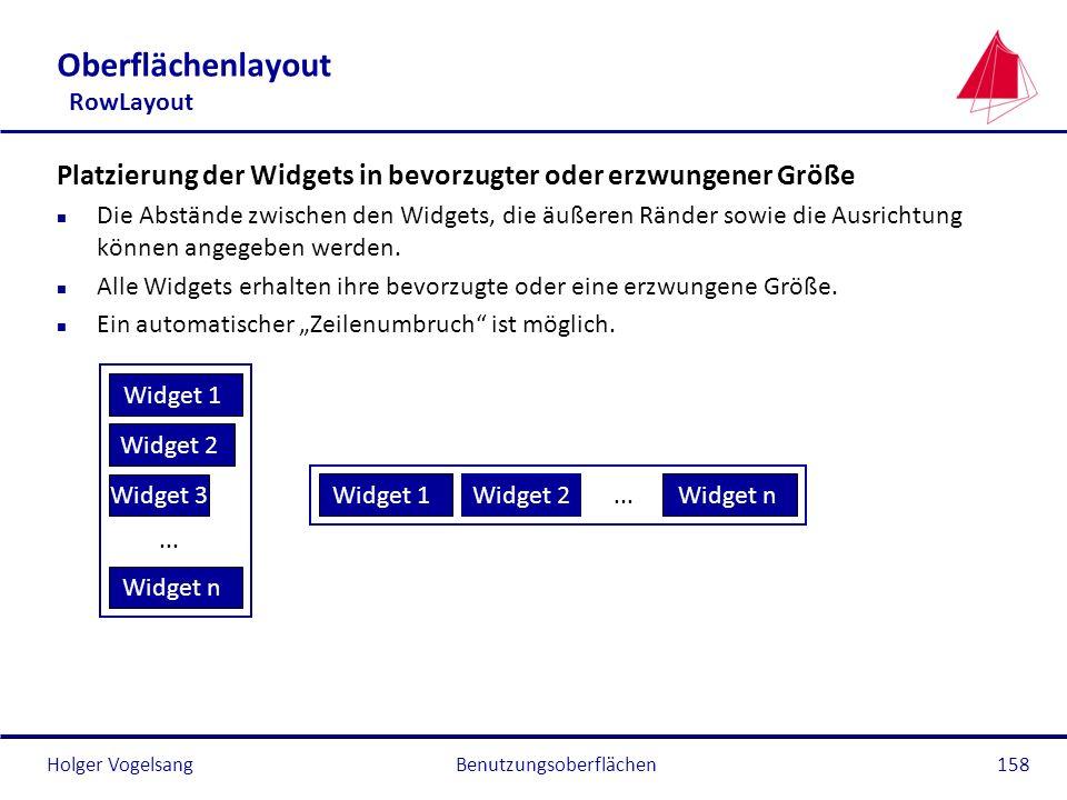Holger VogelsangBenutzungsoberflächen158 Oberflächenlayout RowLayout Platzierung der Widgets in bevorzugter oder erzwungener Größe n Die Abstände zwis