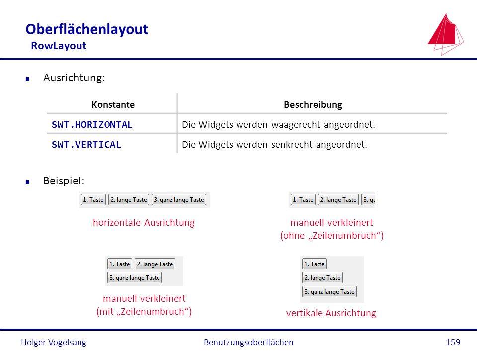 Holger VogelsangBenutzungsoberflächen159 Oberflächenlayout RowLayout n Ausrichtung: n Beispiel: horizontale Ausrichtungmanuell verkleinert (ohne Zeile