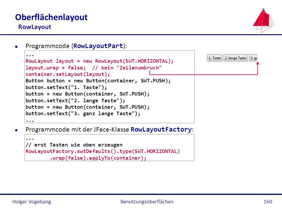 Holger VogelsangBenutzungsoberflächen160 Oberflächenlayout RowLayout Programmcode ( RowLayoutPart ):... RowLayout layout = new RowLayout(SWT.HORIZONTA