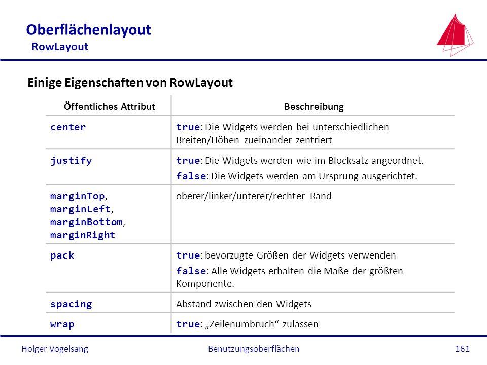 Holger VogelsangBenutzungsoberflächen161 Oberflächenlayout RowLayout Öffentliches AttributBeschreibung center true : Die Widgets werden bei unterschie