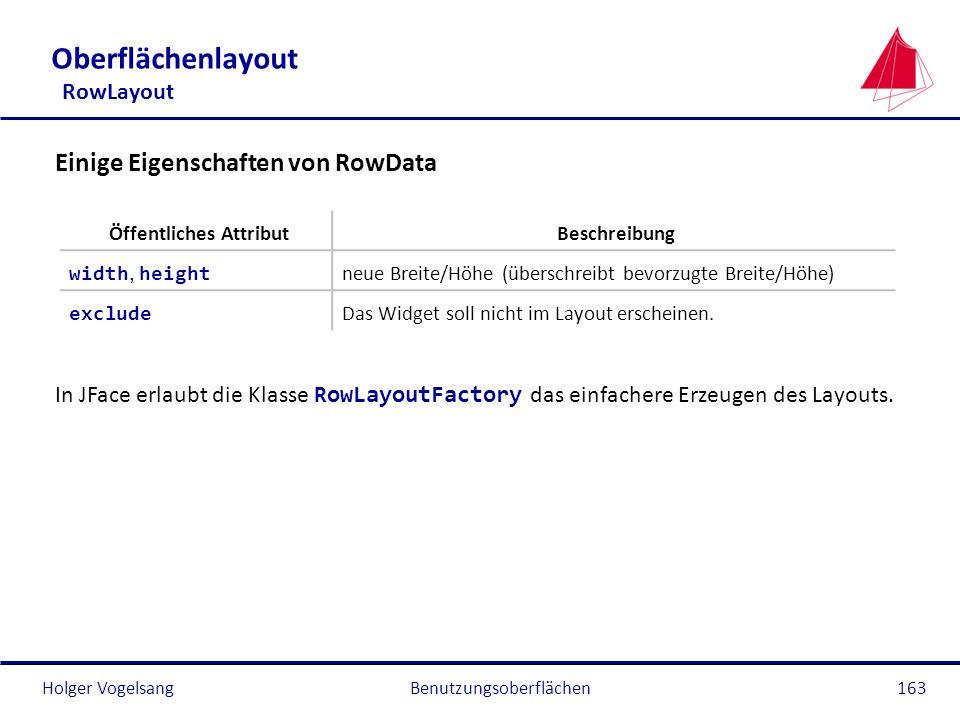 Holger VogelsangBenutzungsoberflächen163 Oberflächenlayout RowLayout Einige Eigenschaften von RowData In JFace erlaubt die Klasse RowLayoutFactory das
