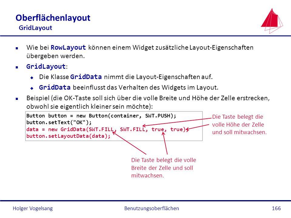 Holger Vogelsang Oberflächenlayout GridLayout Wie bei RowLayout können einem Widget zusätzliche Layout-Eigenschaften übergeben werden. GridLayout : Di