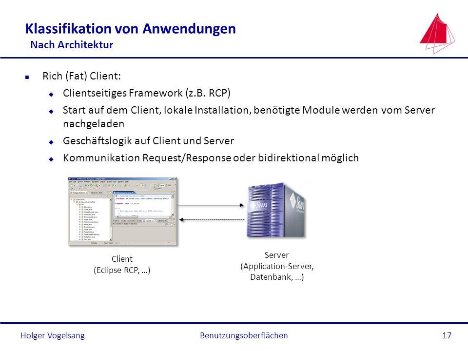 Holger Vogelsang Klassifikation von Anwendungen Nach Architektur n Rich (Fat) Client: u Clientseitiges Framework (z.B. RCP) u Start auf dem Client, lo