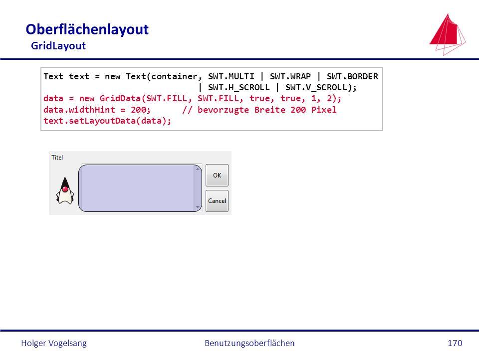 Holger VogelsangBenutzungsoberflächen170 Oberflächenlayout GridLayout Text text = new Text(container, SWT.MULTI | SWT.WRAP | SWT.BORDER | SWT.H_SCROLL