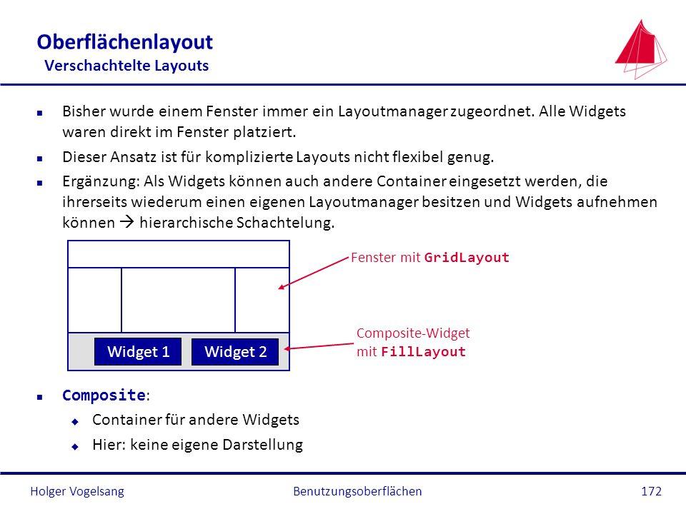 Holger VogelsangBenutzungsoberflächen172 Oberflächenlayout Verschachtelte Layouts n Bisher wurde einem Fenster immer ein Layoutmanager zugeordnet. All
