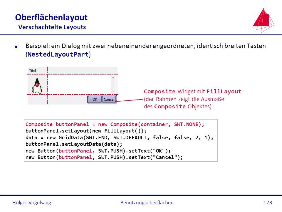 Holger VogelsangBenutzungsoberflächen173 Oberflächenlayout Verschachtelte Layouts Beispiel: ein Dialog mit zwei nebeneinander angeordneten, identisch