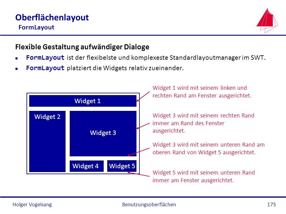 Holger VogelsangBenutzungsoberflächen175 Oberflächenlayout FormLayout Flexible Gestaltung aufwändiger Dialoge FormLayout ist der flexibelste und kompl