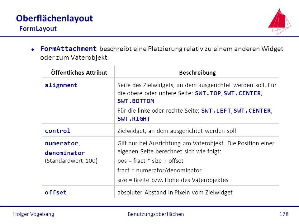 Holger Vogelsang Oberflächenlayout FormLayout FormAttachment beschreibt eine Platzierung relativ zu einem anderen Widget oder zum Vaterobjekt. Benutzu