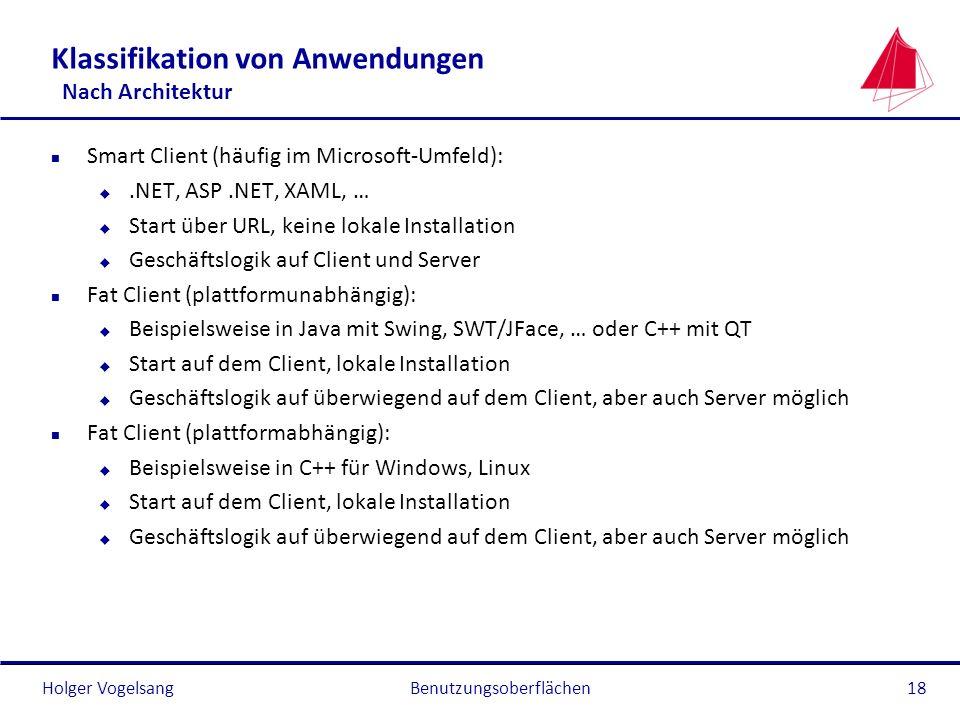 Holger Vogelsang Klassifikation von Anwendungen Nach Architektur n Smart Client (häufig im Microsoft-Umfeld): u.NET, ASP.NET, XAML, … u Start über URL