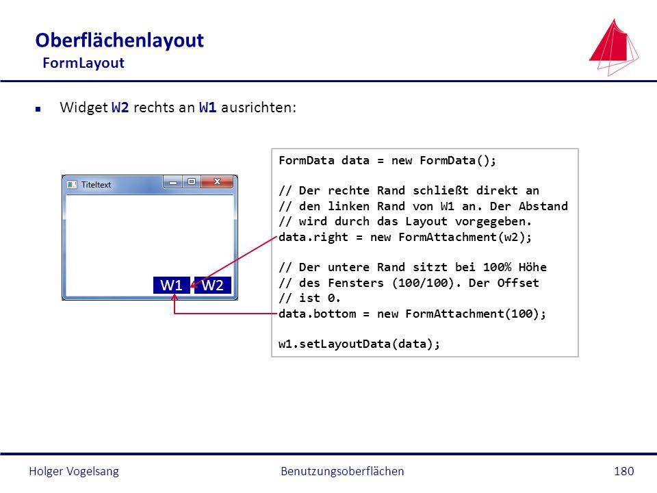 Holger VogelsangBenutzungsoberflächen180 Oberflächenlayout FormLayout Widget W2 rechts an W1 ausrichten: FormData data = new FormData(); // Der rechte