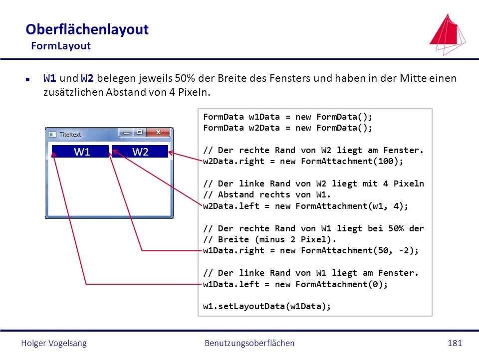 Holger VogelsangBenutzungsoberflächen181 Oberflächenlayout FormLayout W1 und W2 belegen jeweils 50% der Breite des Fensters und haben in der Mitte ein
