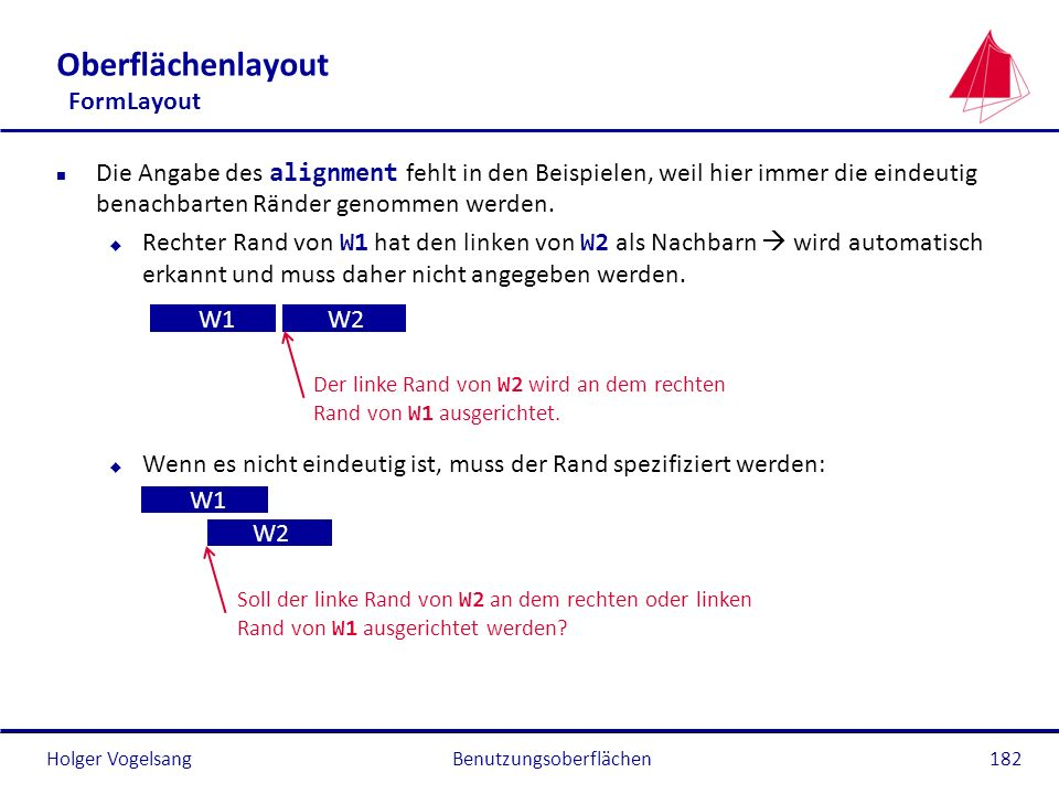 Holger VogelsangBenutzungsoberflächen182 Oberflächenlayout FormLayout Die Angabe des alignment fehlt in den Beispielen, weil hier immer die eindeutig