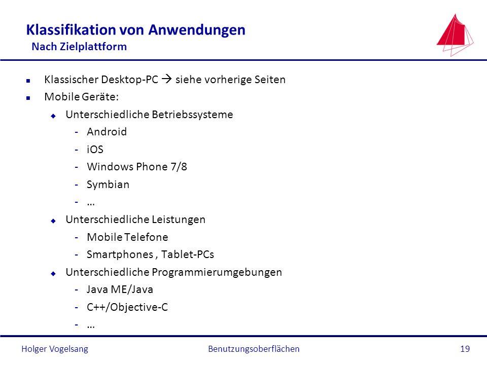 Holger Vogelsang Klassifikation von Anwendungen Nach Zielplattform n Klassischer Desktop-PC siehe vorherige Seiten n Mobile Geräte: u Unterschiedliche