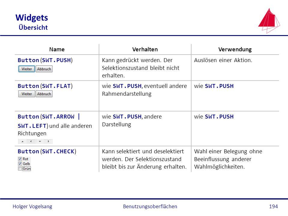 Holger VogelsangBenutzungsoberflächen194 Widgets Übersicht NameVerhaltenVerwendung Button ( SWT.PUSH )Kann gedrückt werden. Der Selektionszustand blei