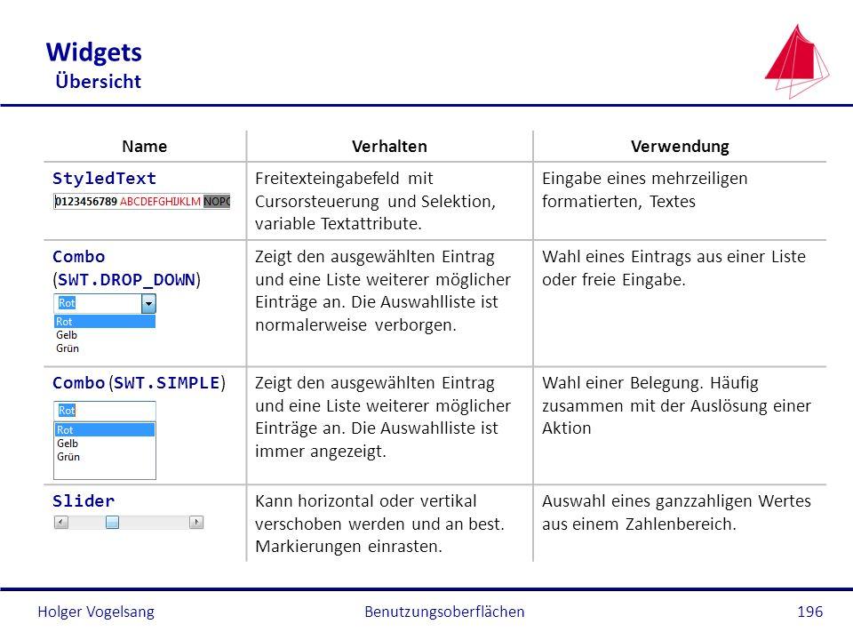 Holger VogelsangBenutzungsoberflächen196 Widgets Übersicht NameVerhaltenVerwendung StyledText Freitexteingabefeld mit Cursorsteuerung und Selektion, v