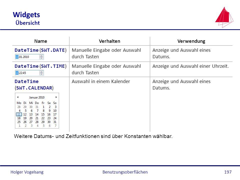 Holger VogelsangBenutzungsoberflächen197 Widgets Übersicht NameVerhaltenVerwendung DateTime ( SWT.DATE )Manuelle Eingabe oder Auswahl durch Tasten Anz