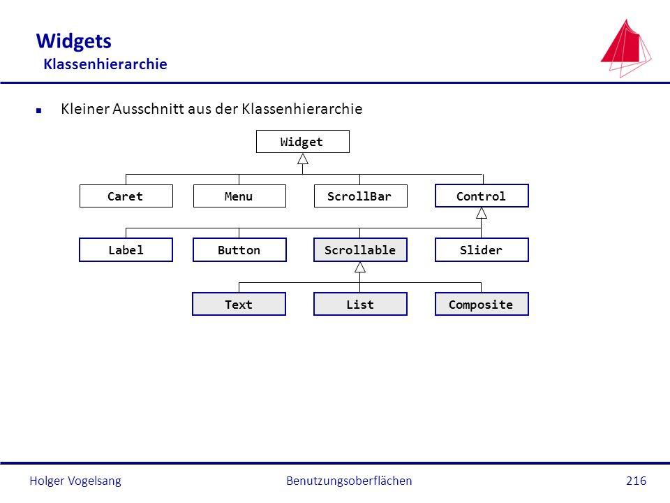 Holger VogelsangBenutzungsoberflächen216 Widgets Klassenhierarchie n Kleiner Ausschnitt aus der Klassenhierarchie Widget Control ButtonLabelScrollable