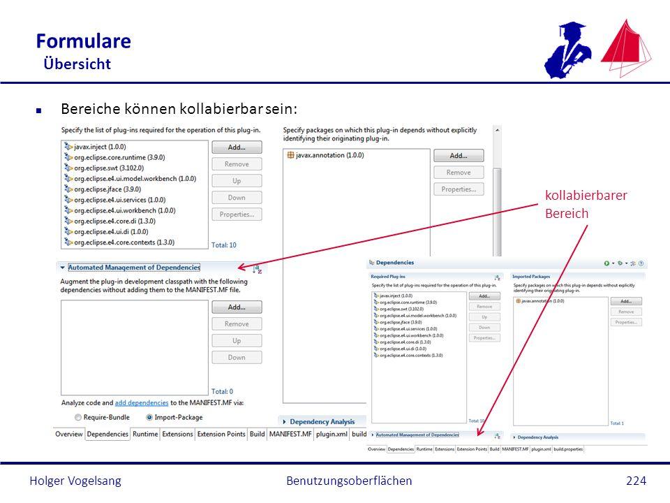 Holger Vogelsang Formulare Übersicht n Bereiche können kollabierbar sein: Benutzungsoberflächen224 kollabierbarer Bereich