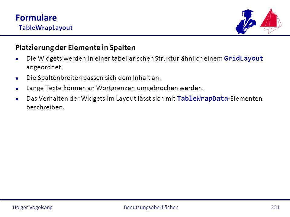 Holger VogelsangBenutzungsoberflächen231 Formulare TableWrapLayout Platzierung der Elemente in Spalten Die Widgets werden in einer tabellarischen Stru