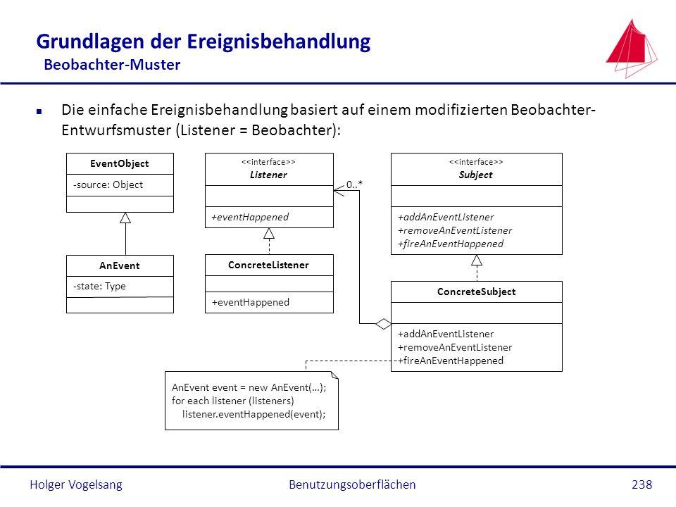 Holger VogelsangBenutzungsoberflächen238 -state: Type Grundlagen der Ereignisbehandlung Beobachter-Muster n Die einfache Ereignisbehandlung basiert au