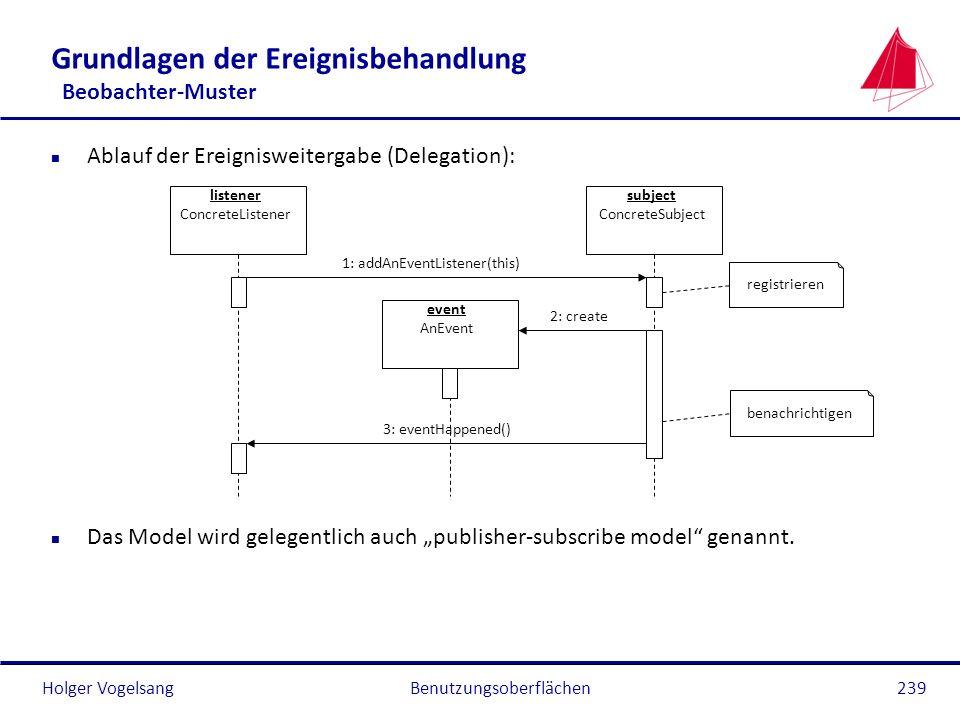 Holger VogelsangBenutzungsoberflächen239 Grundlagen der Ereignisbehandlung Beobachter-Muster n Ablauf der Ereignisweitergabe (Delegation): n Das Model