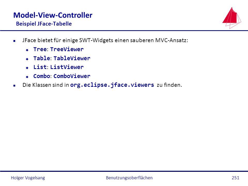 Holger Vogelsang Model-View-Controller Beispiel JFace-Tabelle n JFace bietet für einige SWT-Widgets einen sauberen MVC-Ansatz: Tree : TreeViewer Table