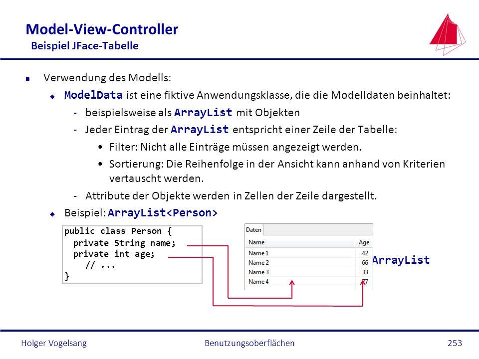 Holger Vogelsang Model-View-Controller Beispiel JFace-Tabelle n Verwendung des Modells: ModelData ist eine fiktive Anwendungsklasse, die die Modelldat