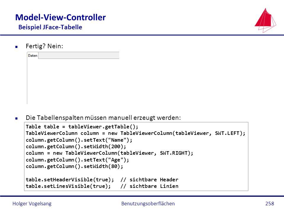 Holger Vogelsang Model-View-Controller Beispiel JFace-Tabelle n Fertig? Nein: n Die Tabellenspalten müssen manuell erzeugt werden: Table table = table