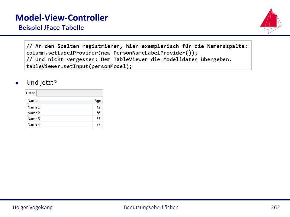 Holger Vogelsang Model-View-Controller Beispiel JFace-Tabelle // An den Spalten registrieren, hier exemplarisch für die Namensspalte: column.setLabelP