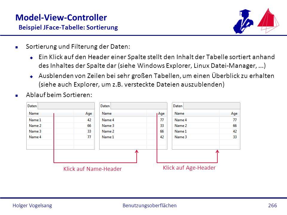 Holger Vogelsang Model-View-Controller Beispiel JFace-Tabelle: Sortierung n Sortierung und Filterung der Daten: u Ein Klick auf den Header einer Spalt