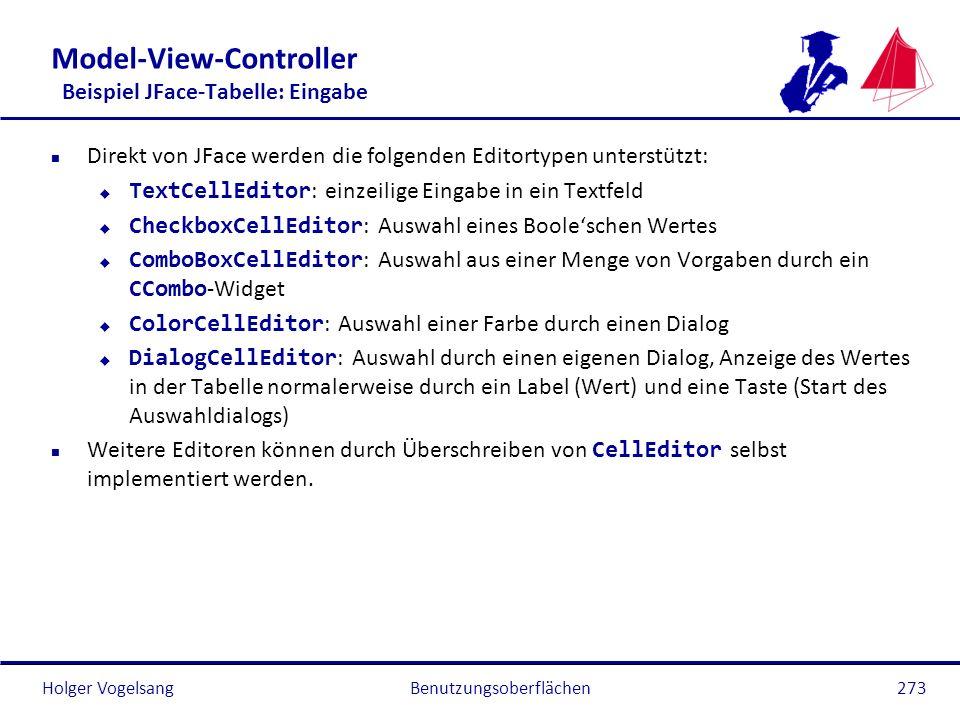 Holger Vogelsang Model-View-Controller Beispiel JFace-Tabelle: Eingabe n Direkt von JFace werden die folgenden Editortypen unterstützt: TextCellEditor