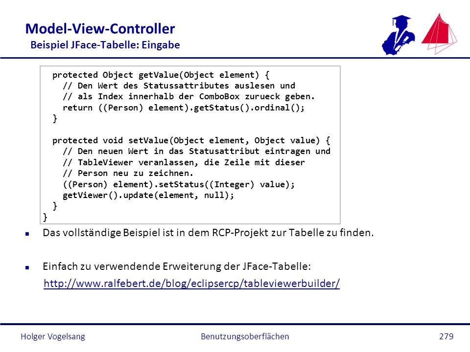 Holger Vogelsang Model-View-Controller Beispiel JFace-Tabelle: Eingabe protected Object getValue(Object element) { // Den Wert des Statussattributes a