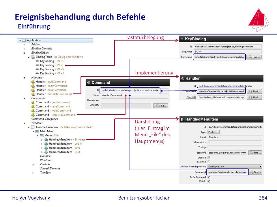 Holger Vogelsang Ereignisbehandlung durch Befehle Einführung Benutzungsoberflächen284 Tastaturbelegung Implementierung Darstellung (hier: Eintrag im M